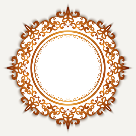 scrollwork: Vintage gold label, golden circle frame on white background