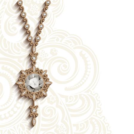 jewellery: Vintage gold design, jewelry pendant with diamonds, round jewellery locket, elegant decoration, greeting card or invitation template