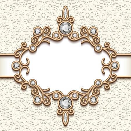 Vintage gouden achtergrond, diamanten label, juwelen vignet, swirly sieraden frame, wenskaart of huwelijksuitnodiging sjabloon Vector Illustratie