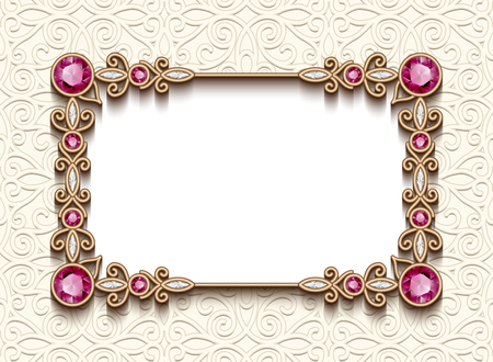 Vintage card with diamond jewelry decoration, gold rectangle frame, elegant wedding invitation or announcement template