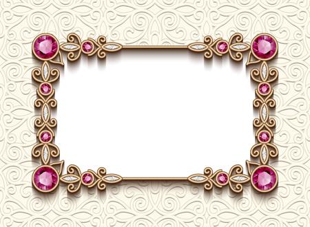 Cartolina d'epoca con la decorazione dei monili del diamante, struttura del rettangolo dell'oro, invito di cerimonia nuziale elegante o modello dell'annuncio Archivio Fotografico - 69937324