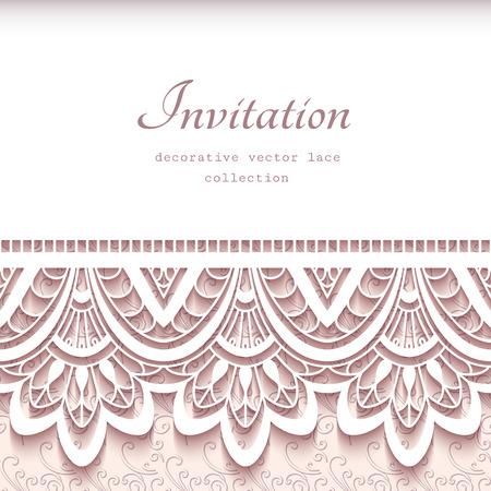 biglietto di auguri d'epoca con bordo in pizzo ritaglio di carta, invito a nozze o Modello per l'annuncio Vettoriali