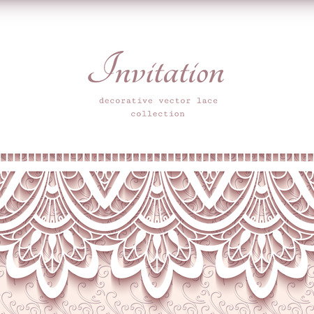 Vintage greeting card with cutout paper lace border, wedding invitation or announcement template