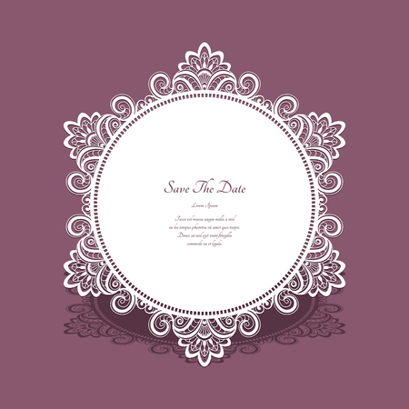 Round lace doily, cutout paper frame, save the date card with ornamental border Illustration