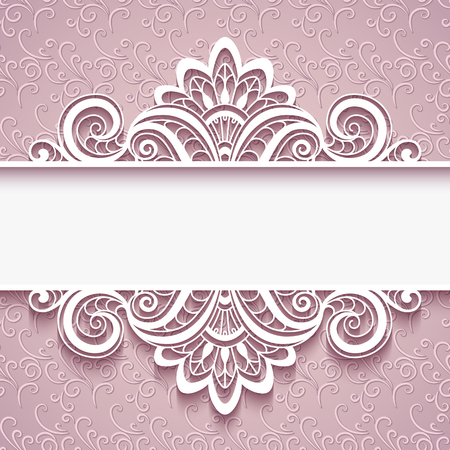 vignette: Elegant background with lace border ornament, decorative cutout paper frame, greeting card or wedding invitation template