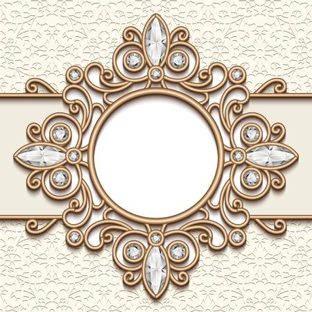 label frame: Vintage gold background, round diamond vignette, label, swirly jewelry frame