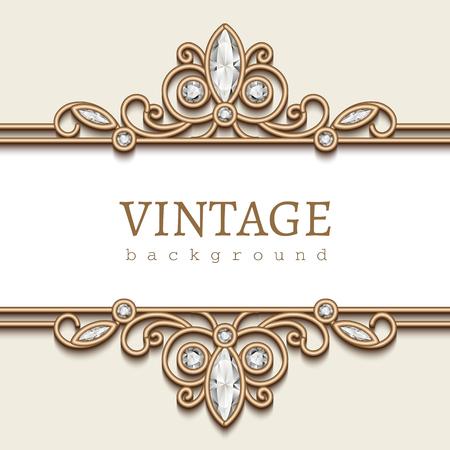 frame border: Vintage gold frame on white, divider element, elegant background with diamond jewelry borders Illustration