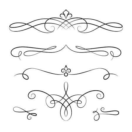 Vintage vignettes, page decoration template, set of calligraphic decorative design elements in retro style, scroll embellishment on white 免版税图像 - 71107587