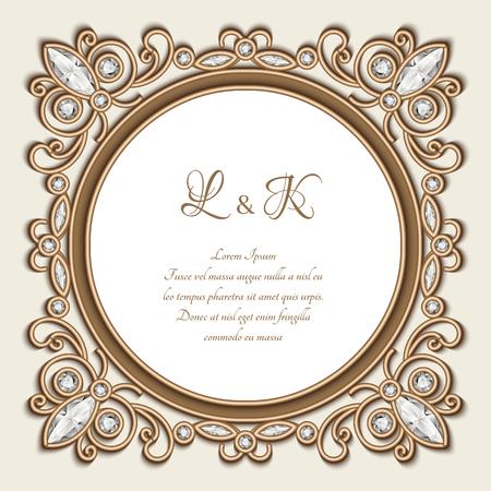 Vintage gold Zierrahmen, Etikett, Diamant-Schmuck Vignette, elegante Hochzeitseinladung oder die Datumskarte Vorlage speichern Standard-Bild - 71632934