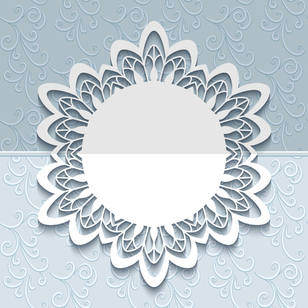 cutting: Round frame with cutout border pattern, paper lace doily, elegant save the date card or wedding invitation template with laser cut border pattern