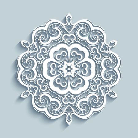 christmas paper: Paper lace doily, decorative snowflake, mandala circle ornament, laser cut round pattern