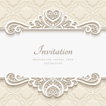 vignette: Vintage frame with lace border pattern, cutout paper vignette, flourish decoration for greeting card or wedding invitation