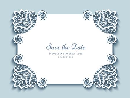 Cadre en papier découpé, carte de voeux élégante ou modèle d'invitation de mariage avec des coins en dentelle Vecteurs