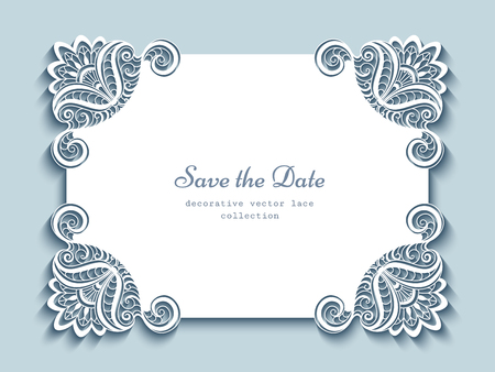 Cutout paper frame, elegant greeting card or wedding invitation template with lace corners