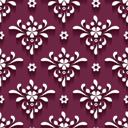 floral swirls: Cutout paper swirls, floral ornament, damask seamless pattern