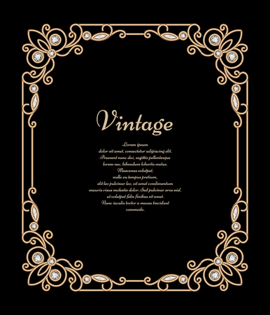 gold ornaments: Vintage jewelry gold background, banner, rectangle frame with corner patterns, antique embellishment on black