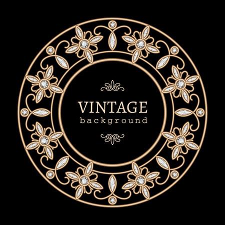 diamonds on black: Vintage gold jewelry label, round frame with diamonds on black
