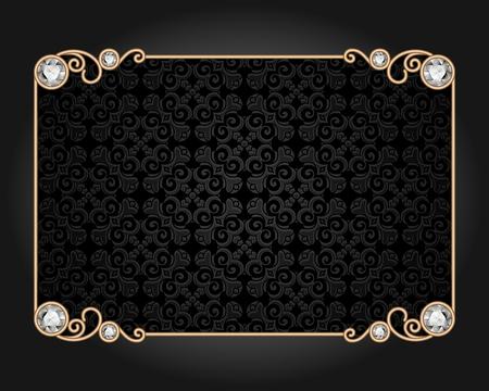 scrolls: Vintage gold rectangle frame, stylish ornamental card with diamond jewelry decoration