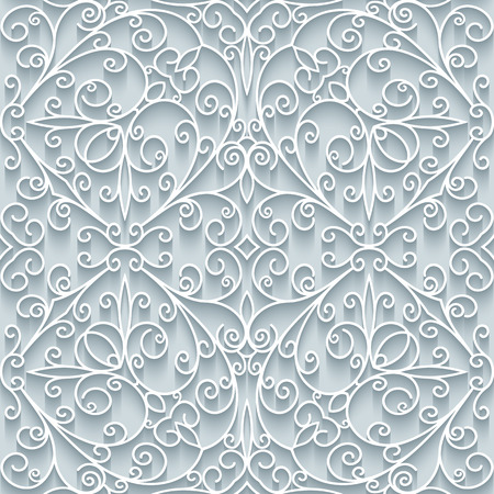 Cutout paper lace texture, swirly ornament, seamless pattern in neutral color