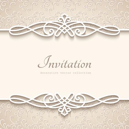 Fondo de la vendimia con la decoración de la frontera del papel del recorte, la plantilla decorativa del marco del flourish, la invitación de la boda o la plantilla del aviso