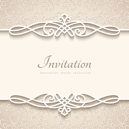 Vintage background with cutout paper border decoration, decorative flourish frame template, wedding invitation or announcement template Vectores