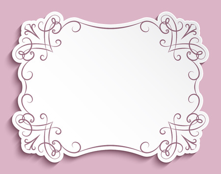 Rectangle Cutout Paper Frame With Flourish Decoration Vintage Greeting Card Or Wedding Invitation Template Vector