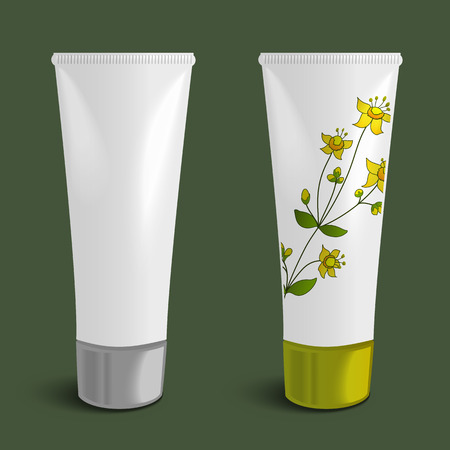 balsam: Cosmetic packaging design with herbal plant, plastic tube template