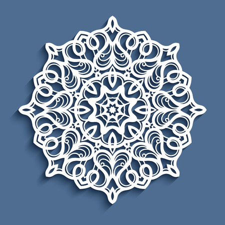 Paper lace doily, decorative snowflake, mandala, laser cut round ornament Stock Illustratie