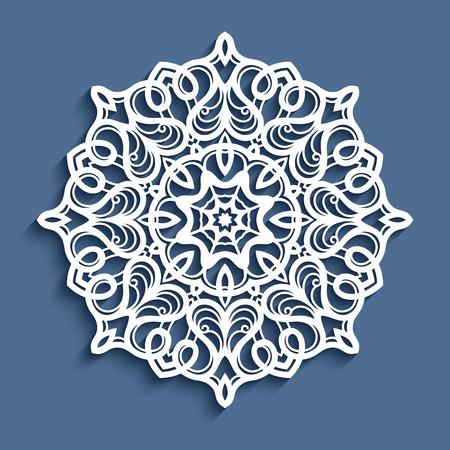 Paper lace doily, decorative snowflake, mandala, laser cut round ornament Vectores