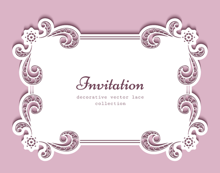 Rectangle frame with cutout paper lace border, greeting card or wedding invitation template