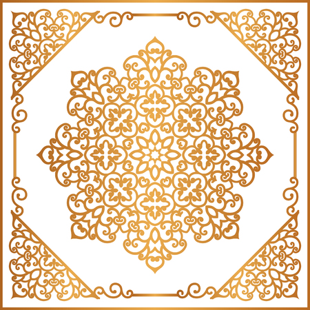 scrollwork: Vintage gold round ornament in square frame, mandala, swirly decoration in oriental style on white