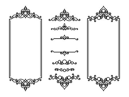 ビンテージのフレームとビネット、レトロなスタイルで、白のスクロール装飾渦巻き模様の装飾的なデザイン要素の設定