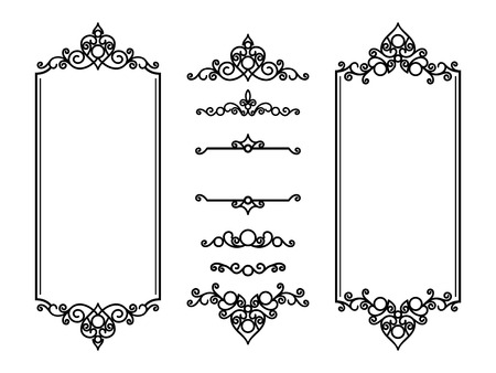 Vintage frames and vignettes, set of swirly decorative design elements in retro style, scroll embellishment on white