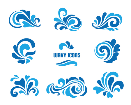 Wave icons, set of decorative swirls isolated on white
