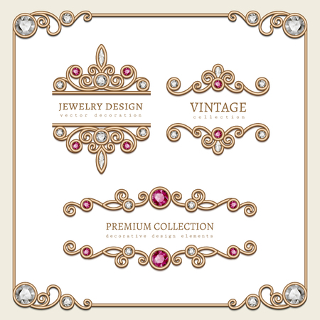 diamond jewellery: Vintage gold jewelry vignettes and flourishes in square frame, banners, set of decorative jewellery design elements with diamond and ruby gems, antique embellishment on white.