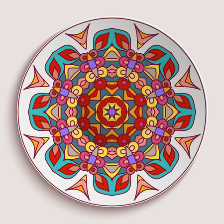Empty plate with ornamental border, decorative porcelain saucer with bright round pattern