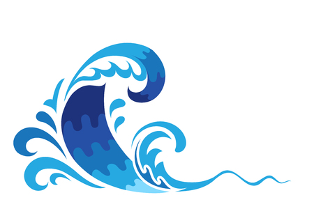 gale: Cartoon ocean wave, surf, blue sea water splash on white