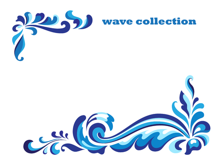 Rectangle frame with corner swirl ornaments, blue wave pattern on white, curly decoration for greeting card or invitation design Vectores