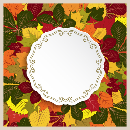 Autumn background, cutout paper label, circle frame with fallen yellow leaves