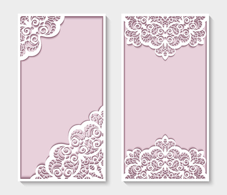 Elegant cards with lace decoration, save the date or wedding invitation templates