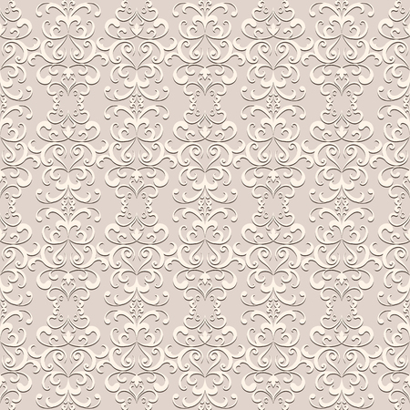 Vintage swirly ornament, lace texture, seamless pattern in neutral color