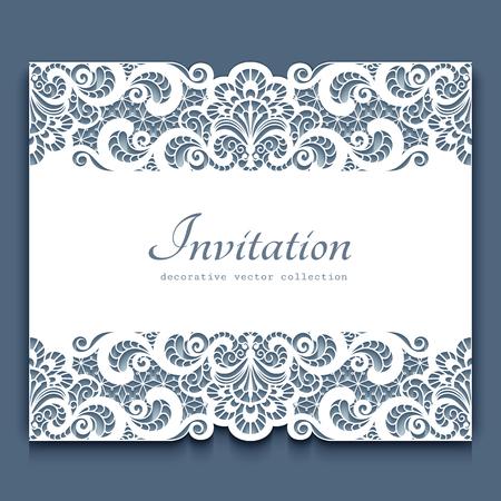 Elegant cutout paper frame with lace border ornament greeting card banco de imagens elegant cutout paper frame with lace border ornament greeting card or invitation template stopboris Images