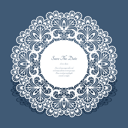 Round cutout paper frame, laser cut lace doily, save the date card or wedding invitation template