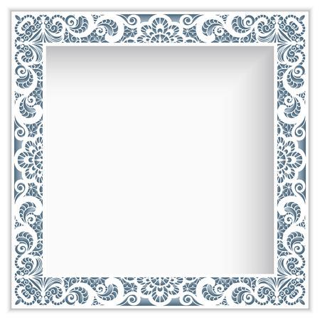 레이스 테두리 패턴, 컷 아웃 종이 장식과 사각 사진 프레임 일러스트