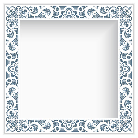 Square photo frame with lace border pattern, cutout paper decoration Stock fotó - 84275144
