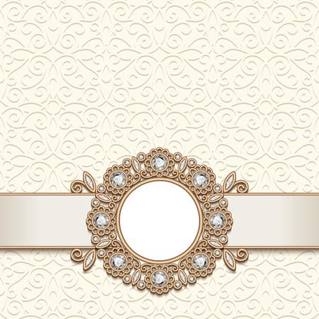 Fond de bijoux en or vintage, cadre de bijoux antique avec des pierres précieuses de diamant, carte d'invitation de mariage ou un design d'annonce, décoration élégante dans un style rétro Banque d'images - 85121600