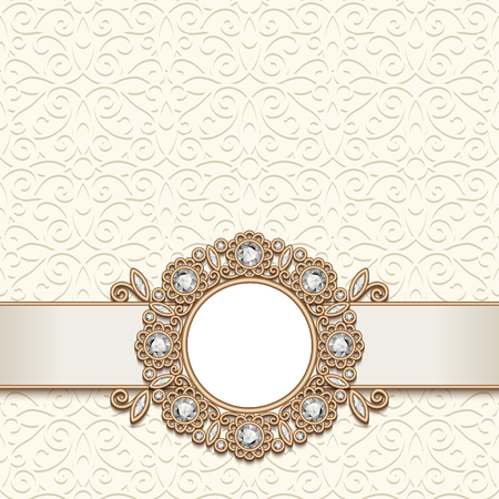 Vintage gold jewelry background, antique jewellery frame with diamond gems, wedding invitation card or announcement design, elegant decoration in retro style