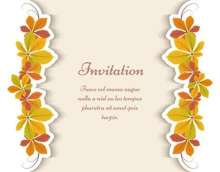 秋の背景、グリーティング カードや招待状のテンプレート栗黄葉飾られています。