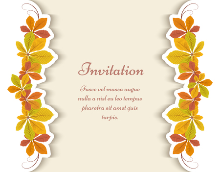 Autumn background, greeting card or invitation template decorated with yellow chestnut leaves. Illustration