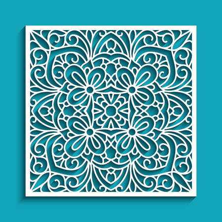 Decorative panel with lace pattern, elegant square ornament for laser cutting or wood carving, cutout paper decorative element. Иллюстрация